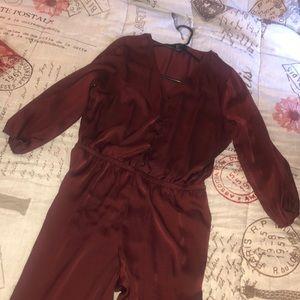 Forever21 Burgundy Jumpsuit.